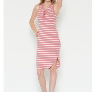 Striped Lace Up Tank Dress